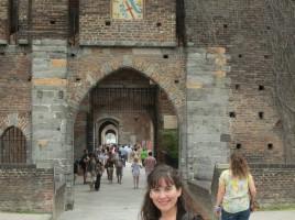 Melanie at the castle in Milan