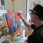 Frank painting Melanie's portrait