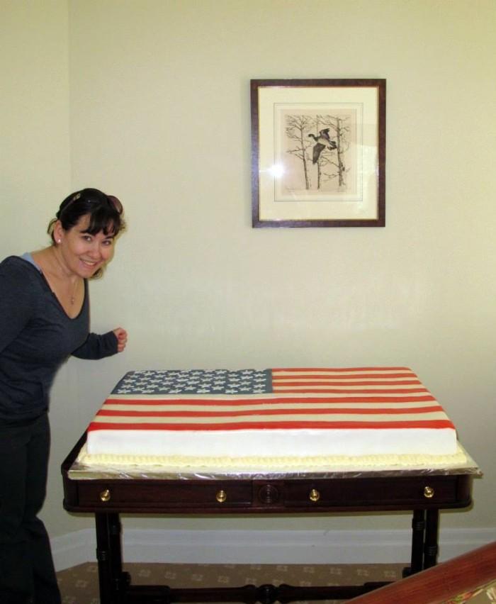 Giant American flag cake