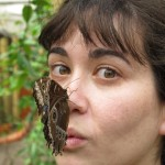 Melanie with a friendly butterfly