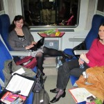 Alice and Melanie on the train