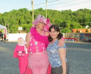 Mel with piggy