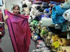 Melanie at Mood fabric store