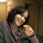 Deborah enjoying Wisconsin cheese curds