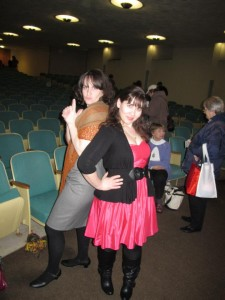 Posing at guild meeting