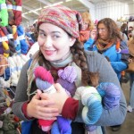 Melanie buying yarn